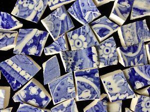 Broken China Mosaic Tiles BLUE & WHITE ~ Antique Ironstone ~ 100+ Pieces