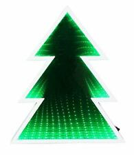 GREEN CHRISTMAS TREE INFINITY MIRROR DECORATION LIGHT GIFT SET