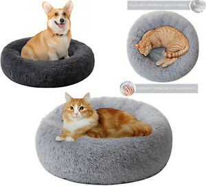 Calming Dog Bed Fluffy Plush Cat Bed Washable Round Fur Donut Pet Bed Donut