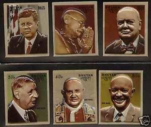Bhutan 145-5e MNH 3D stamps Churchill, Gandhi, Kennedy