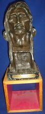 FREDERIC REMINGTON Vintage Bronze SCULPTURE Bust Art THE SAVAGE Old West SIGNED