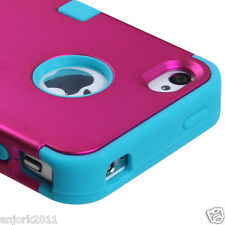 iPhone 4 4S T ARMOR HYBRID SNAP ON CASE SKIN COVER HOT PINK TEAL