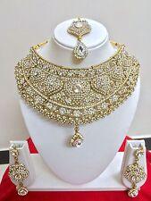 Indisch Bollywood Hochzeit Vergoldet Modeschmuck Halskette Ohrring Schmuck Set