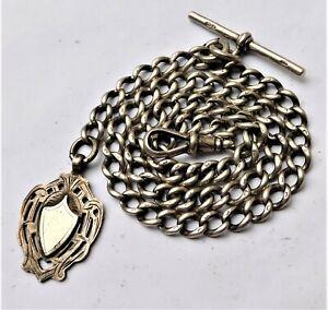 NO RESERVE c1910 Silver 44g Albert Pocket Watch Chain Vintage Antique