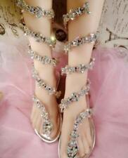 New Women Bling Rhinestone Ankle Snake Strappy  Mid Calf Gladiator Thong Sandals