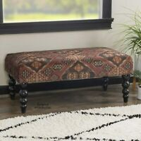 Entryway Bench End of Bed Ottoman Padded Fabric Aztec Print Plush Seat Footstool
