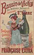 """""""BASSIN de VICHY St YORRE Eau Minérale"""" Etiquette-chromo originale fin 1800"""