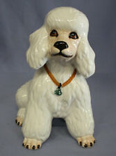 Großer Pudel poodle Keramikfigur Hund hundefigur weißer