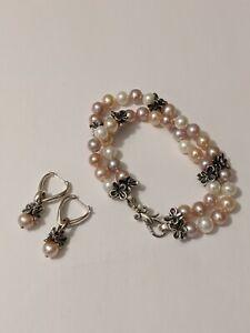 "Signed Ann King Sterling Silver FW Cultured Pearl  7"" Bracelet & Earrings Set"