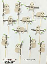 CUTE SLOTH THEME PARTY CAKE CUPCAKE TOPPERS FOOD PICKS. HANGING, SLEEPING, TREE