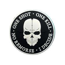 SNIPER ONE SHOT ONE KILL Death Skull DEVGRU SWAT Tactical Morale Hook PVC Patch