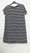 ONLY Stripey Dress Black and White UK 8 Rockabilly short sleeve stripes