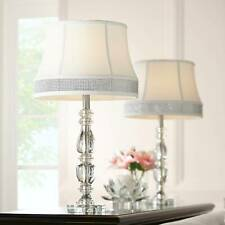 Traditional Table Lamps Set of 2 Crystal Gallery Bling Shade Living Room Bedroom