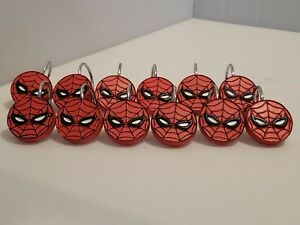 Spiderman Shower Curtain Hooks Hangers Set Of 12 Spidey Face Round Silver Hooks