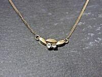 Eleganter 835 Silber Kette Zart Dünn Vergoldet Zirkonia Filigran Vintage Retro