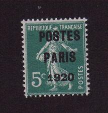 N°24 PREOBLITERE 5 C VERT SEMEUSE CAMEE POSTE PARIS 1920 GOMME SANS CHARNIERE