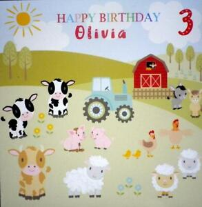Child's BIRTHDAY CARD with FARM ANIMALS personalised with any Name and Age.