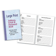 Large Print Address Email Password Book Spiral Bound Organize Online Info