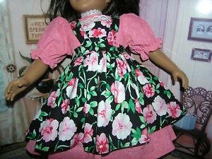 """Red Dress Black Flower Print Apron 2 piece Dress 23"""" Doll clothes fits My Twinn"""