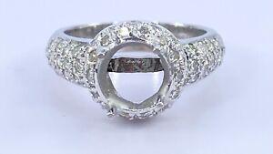 .75 ct DIAMOND semi mount halo engagement ring 14k white gold 8 mm (VIDEO)