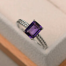 Christmas Sale 1.43 Ct Real Amethyst Ring 950 Platinum Diamond Rings Size 5 7 9