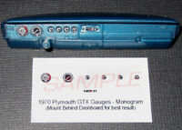 1970 PLYMOUTH GTX GAUGE FACES for 1/25 scale REVELL MONOGRAM KITS