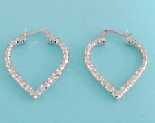 Sterling Silver Shiny Heart Shape Hoop Earrings 1 inch