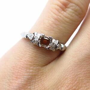 Antique Art Deco 900 Platinum & Old Miner-Cut Real Diamond Ring Size 6 / MISSING