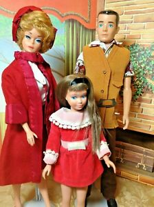 Vintage Mattel Blonde Bubble Barbie Skipper and Ken Lot with Outfits