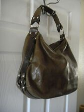 TANO Brown Distressed Leather Shoulder Handbag