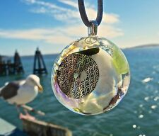 LARIMAR Positive Energy Orgone Dome Pendant with Peridot and Sterling Silver.