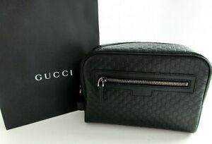 New Gucci Men's 419775 Black Leather Micro GG Guccissima Large Toiletry Bag