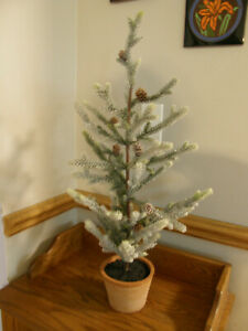 Pottery Barn Evergreen Faux Potted Frosted Christmas Tall Tree w/Pinecones - New
