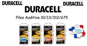 Piles boutons Auditives Duracell 1,45V 10/13/312/675, Qualité Professionnelle
