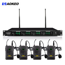 Aokeo 4-Channel Professional UHF Handheld & Lapel / Lavalier & Headset Wireless