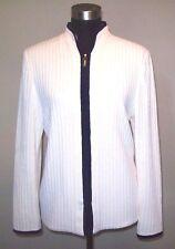 St John Knits Jacket Sz 8 Mandarin Collar Off White & Navy Blue KNIT JACKET