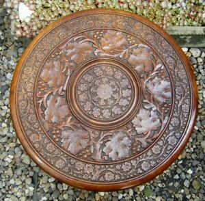 Vintage Round 18'' Indian Carved Low Wooden Coffee Side Plant Table LEAF Design