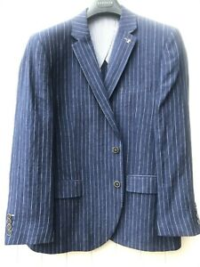 Gurteen Blue Linen Striped Jacket - Many Sizes-BNWT