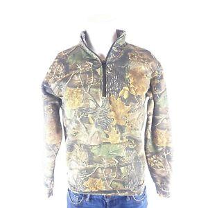 Men's Vintage Cabelas Camo 1/4 Zip Sweatshirt Sweater Seclusion 3D Size Medium