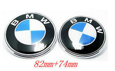 Set of Two Brand New BMW HOOD TRUNK EMBLEM BADGE Blue 82mm+74mm= 2 Pcs US Seller