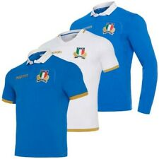 Italy Fir Macron Rugby Men's Sports Away Home Long Sleeve Jersey Blue White New