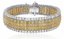 LARGE 29.95CT WHITE & FANCY CANARY DIAMOND 18KT TWO TONE GOLD 3D TENNIS BRACELET