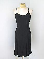 Balenciaga Paris black stretchy knit disco dress cross leather straps France S