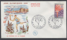 FRANCE FDC - 1545 3 JO FLAMME OLYMPIQUE - GRENOBLE 6 Février 1968 - LUXE