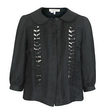 SEE by CHLOÉ embroidered cut-out front linen blazer cropped chloe jacket 40/4