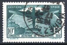 "FRANCE STAMP TIMBRE 321 "" TRAVERSEE ATLANTIQUE SUD 10F VERT "" OBLITERE TTB M819"