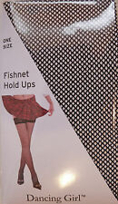 Dancing Girl One Size Plain Top Glittery Fishnet Hold-ups Stockings in Black