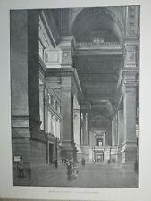 Gravure de presse 1890, Palais de justice de Bruxelles, salle des pas-perdus