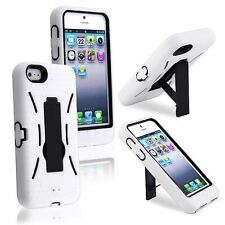 ROBOT Shockproof Hybrid Kickstand Protective Case Cover for iPhone 4 4s WHITE