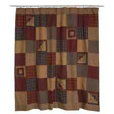 MILLSBORO Shower Curtain Log Cabin Block Plaid Khaki Rustic Primitive 72x72